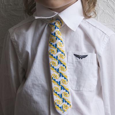 """Краватка для хлопчика """"Жовто-сині хвилі"""""""