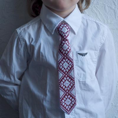 """Краватка для хлопчика """"Бордові ромби"""""""