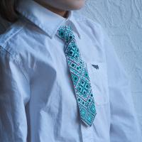 """Краватка для хлопчика """"Смарагдово-чорні ромби"""" (kravatka_07)"""