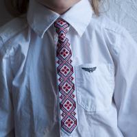 """Краватка для хлопчика """"Червоно-чорні ромби 2"""" (kravatka_09)"""