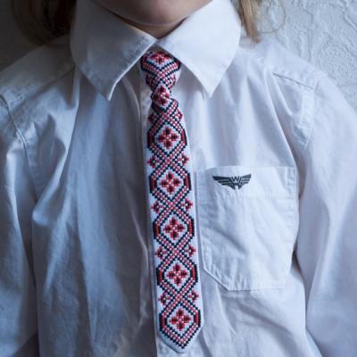 """Краватка для хлопчика """"Червоно-чорні ромби 2"""""""