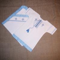 """Хрестильний набір """"Блакитні ріки"""" (блакитне мереживо) (kolos_068)"""